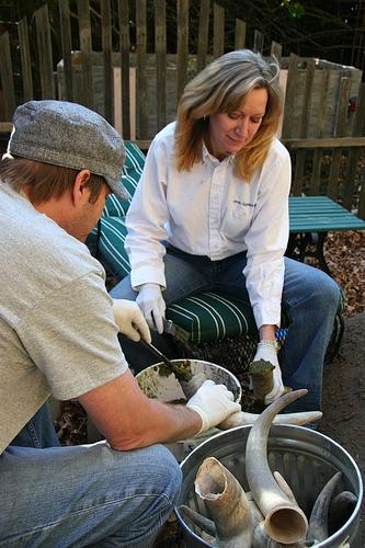 Chef David Kinch and Cynthia Sandberg stuffing cow horns